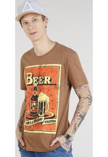 Camiseta Masculina Duff Beer Os Simpsons Manga Curta Gola Careca Marrom
