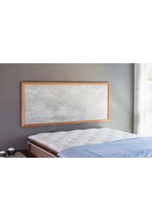 Painel Cabeceira Para Cama Casal Box Mdf Textura Concreto E Madeira Cor Jatobá - 150X62,7X3 Cm