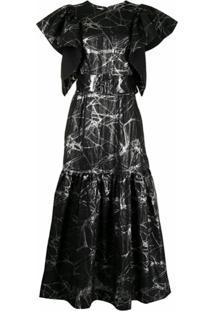 Baruni Vestido Com Cinto E Estampa Metálica - Preto