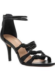 Sandália Couro Shoestock Salto Alto Tiras Feminina