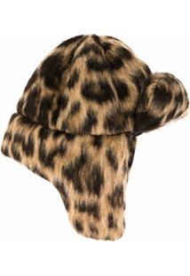 R13 Chapéu Com Animal Print - Marrom