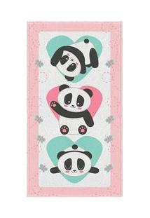 Lepper Toalha De Banho Felpuda Pandas Rosa Claro & Branca 60X110Cm