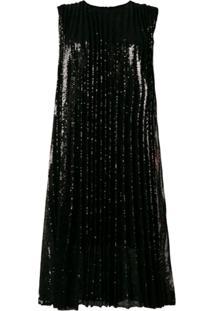 Msgm Vestido Plissado Com Recortes Florais - Preto