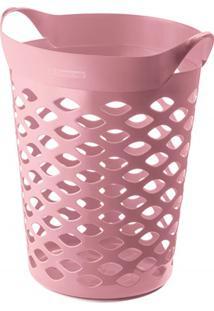 Cesto Organizador Redondo Em Plástico 44 Litros Rosa