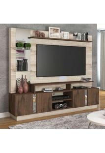 Estante Para Home Theater E Tv 60 Polegadas Munique Rústica E Café 200 Cm