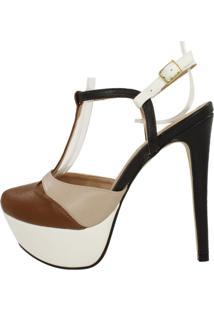 Sandália Week Shoes Meia Pata Marrom Bege/Preto