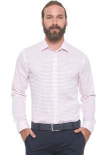 Camisa Forum Reta Xadrez Branca/Vermelha