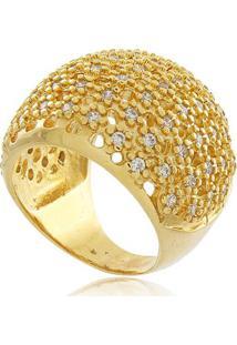 Anel Luxo Cravejado Com Zircônias Cristal Banhado Em Ouro 18K 14