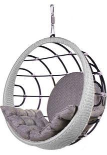 Poltrona De Balanco Bowl Em Aluminio Revestido Em Corda Cor Prata - 45204 Sun House