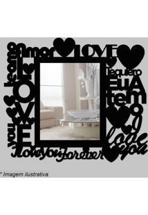 Espelho Love- Espelhado & Preto- 35X30X5Cm- Cia Cia Laser