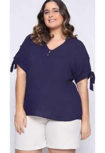 Blusa Almaria Plus Size Lasala Mullet Marinho Azul