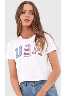 Camiseta Cropped Aeropostale Usa Branca