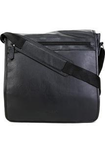 Bolsa Couro Shoestock Carteiro Transversal Masculina - Masculino-Preto