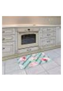 Tapete De Cozinha Mdecore Floral Azul 40X60Cm