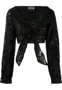 Versace Jeans Couture Blusa Cropped Com Padronagem Floral - Preto