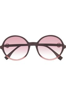 Fendi Eyewear Óculos De Sol Redondo Oversized - Vermelho