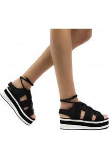 Sandália Zariff Shoes Plataforma Nobuck Cadarço