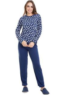 Pijama Longo De Frio Estampado Feminino Adulto Luna Cuore