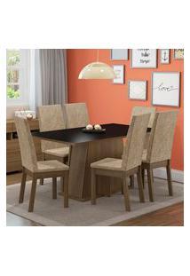 Conjunto Sala De Jantar Thaís Madesa Mesa Tampo De Madeira Com 6 Cadeiras Rustic/Preto/Imperial