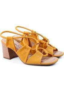 Sandália Dakota Tiras Cruzadas Salto Bloco Feminina - Feminino-Amarelo