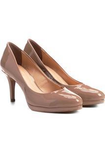 Scarpin Shoestock Salto Médio Básico - Feminino-Nude