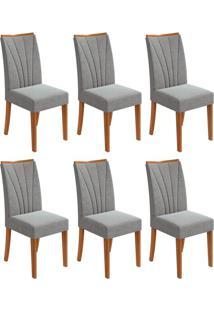 Conjunto Com 6 Cadeiras Apogeu Rovere E Cinza