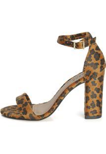 Sandália Connect Shoes Gisele Salto Grosso Pelo Onça Camel