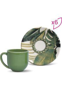 Jogo De Xícara De Café Foliage- Verde & Off White- 6Porto Brasil