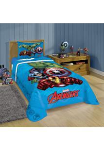 Edredom Solteiro Infantil Lepper Vingadores Avengers Azul