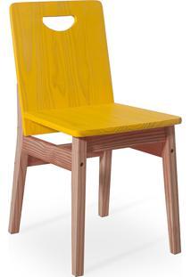 Cadeira Jantar De Madeira Tucupi 40X51X81Cm - Acabamento Stain Nozes E Amarelo