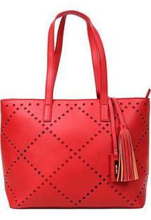 Bolsa Via Uno Shopper Recorte Laser Barbicacho Feminina - Feminino-Vermelho