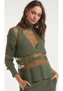 Blusa Rosa Chá Ella Rendas Seda Verde Feminina (Verde Militar, P)