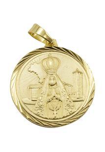 Pingente Tudo Jóias Nossa Senhora Aparecida Folheado A Ouro 18K - Unissex-Dourado