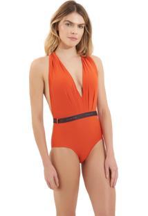 Body Rosa Chá Bia Elásticos 1 Beachwear Laranja Feminino (Pureed Pumpkin, Gg)