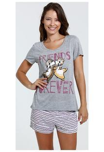 Pijama Feminino Short Doll Estampa Tico E Teco Disney