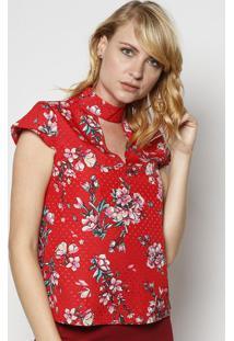 Blusa Floral Com Recorte Vazado - Vermelha & Rosa - Moisele
