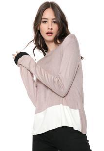 Blusa Calvin Klein Jeans Tricot Color Block Rosa/Off-White