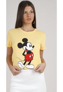 Blusa Feminina Mickey Manga Curta Decote Redondo Amarela