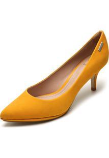 Scarpin Couro Dumond Liso Amarelo - Amarelo - Feminino - Dafiti