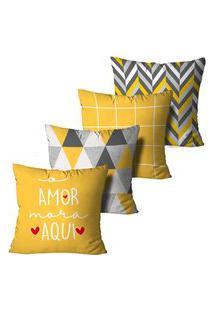 Kit 4 Capas Para Almofadas Decorativas O Amor Mora Aqui 45X45Cm