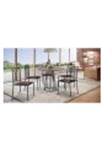 Conjunto De Mesa De Jantar Marrocos Com Tampo Mocaccino E 5 Cadeiras Atos Couríssimo Marrom E Preto