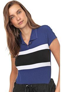 Camisa Polo Lunender Reta Canelada Azul/Preta