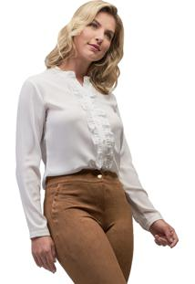 Camisa Crepe Mx Fashion Frufru Helen Off White