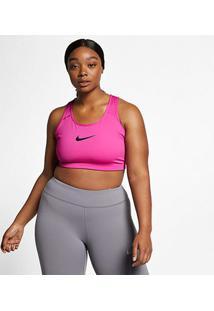 Top Plus Size Nike Plus Swoosh Média Sustentação - Feminino-Pink