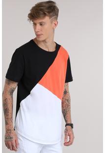 Camiseta Longa Com Recorte Multicor