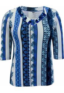 Blusa Pau A Pique 3/4 Estampada Azul