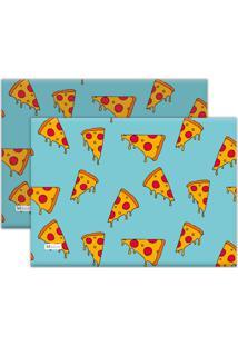 Kit 2Pçs Jogo Americano Mdecor Pizza 40X28Cm Azul