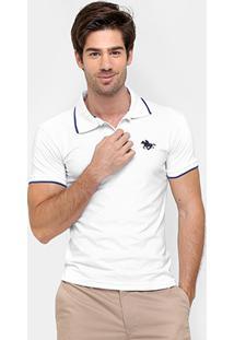 Camisa Polo Rg 518 Malha Friso Logo Masculina - Masculino-Branco