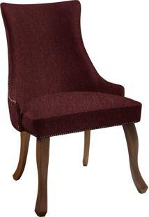 Cadeira Luis Xvi T1076 Linho Marsala C/ Tachas Daf Marsala