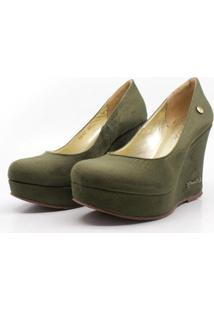 Scarpin Barth Shoes Land Simple Suede Feminino - Feminino-Verde